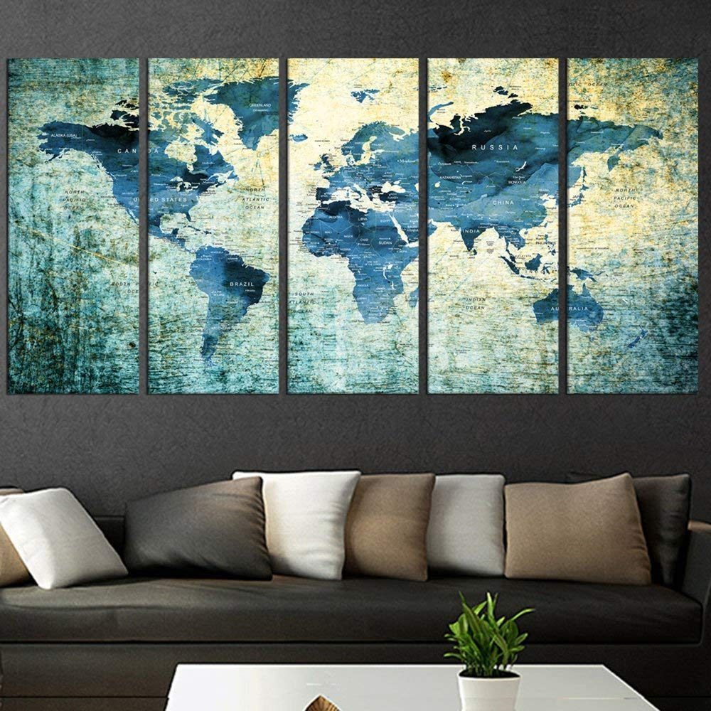 Blue Detailed World Map Push Pin Print Wall Art Canvas, Blue World Map Poster, Framed, Abstract Wall Art Print Set Of 5 Pieces Framed Home Decor, Map For Kids Room Qn81