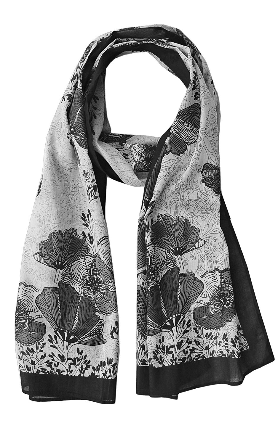 Hummingbird Scarf and California Poppy Scarf: Sheer Soft Cotton, (Promo: 20% off when you buy 2; 30% off when you buy 5; 50% off when you buy 10!!!)