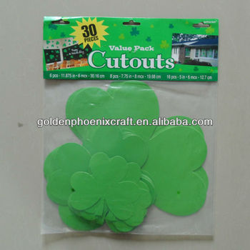 30Pcs St Patrick's Day Clover Shape Green Card Paper Cutouts Party Decoration/Paper Cutouts