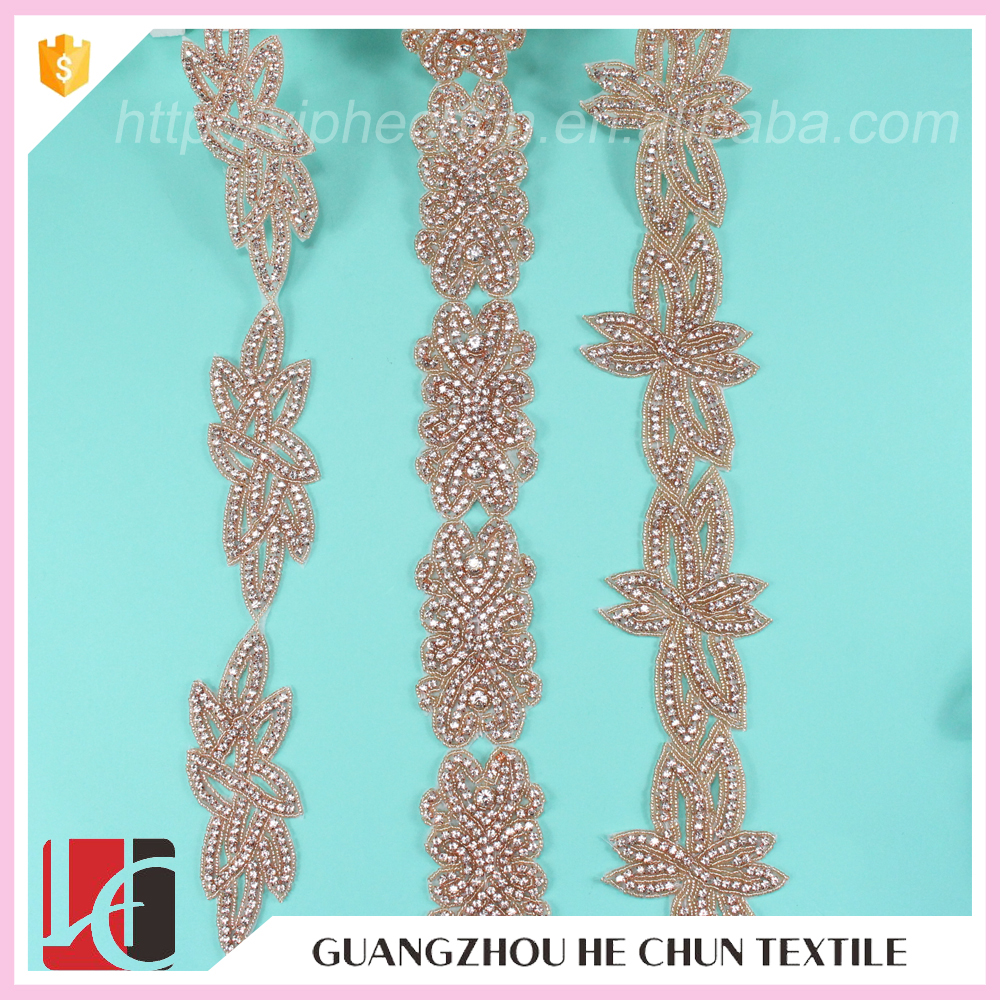 HC-4843--1 Hechun Rose Gold Fashion Crystal Beaded Trimmings for Dresses