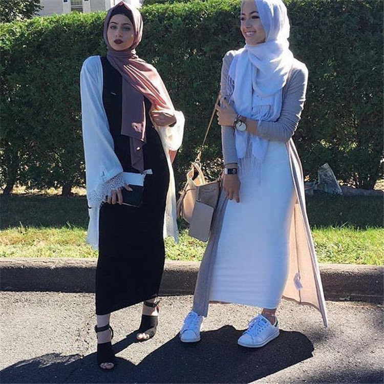 2018 hot selling solid color long pencil skirts wool cotton tight half skirts for muslim women