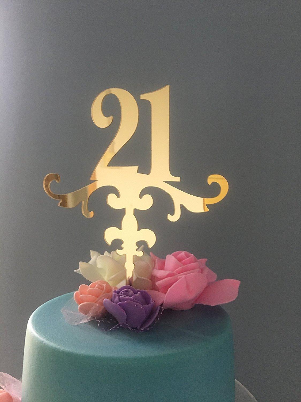 ShinyBeauty Birthday Cake Topper DecorationsGlitter Happy TopperGold