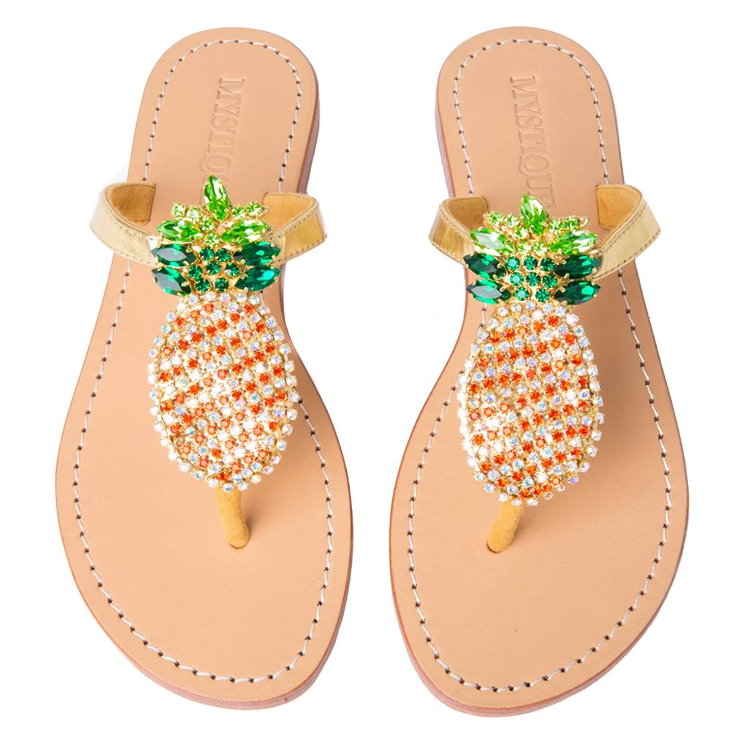 51d7a0a53 Get Quotations · Mystique Original Genuine Leather Handmade Rhinestone  Pineapple Jeweled   Embellished Women s Leather Thong Flat Sandals