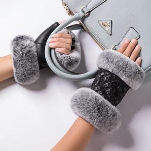 New fashion sheepskin leather women half finger rex rabbit fur fingerless gloves mittens