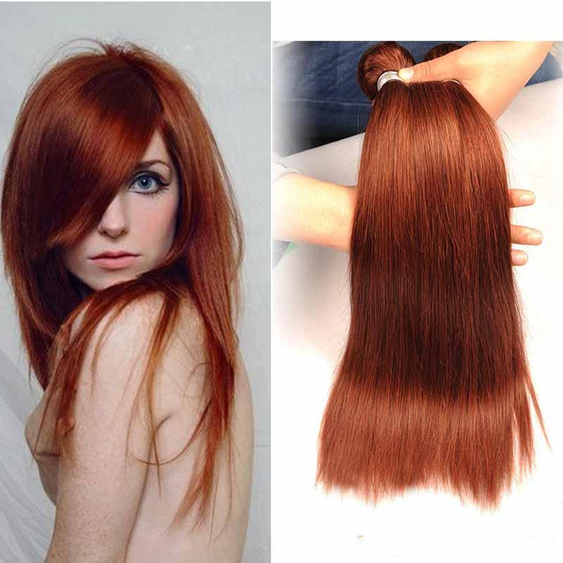 Cheap 22 Inch Virgin Brazilian Cuticle Aligned Straight Dark Auburn