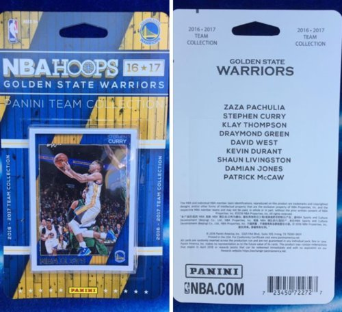 2016-17 Panini NBA Hoops Golden State Warriors Team Set of 9 Cards: Zaza Pachulia(#84), Stephen Curry(#148), Klay Thompson(#149), Draymond Green(#150), David West(#236), Kevin Durant(#240), Shaun Livingston(#251), Damian Jones(#286), Patrick McCaw(#293)