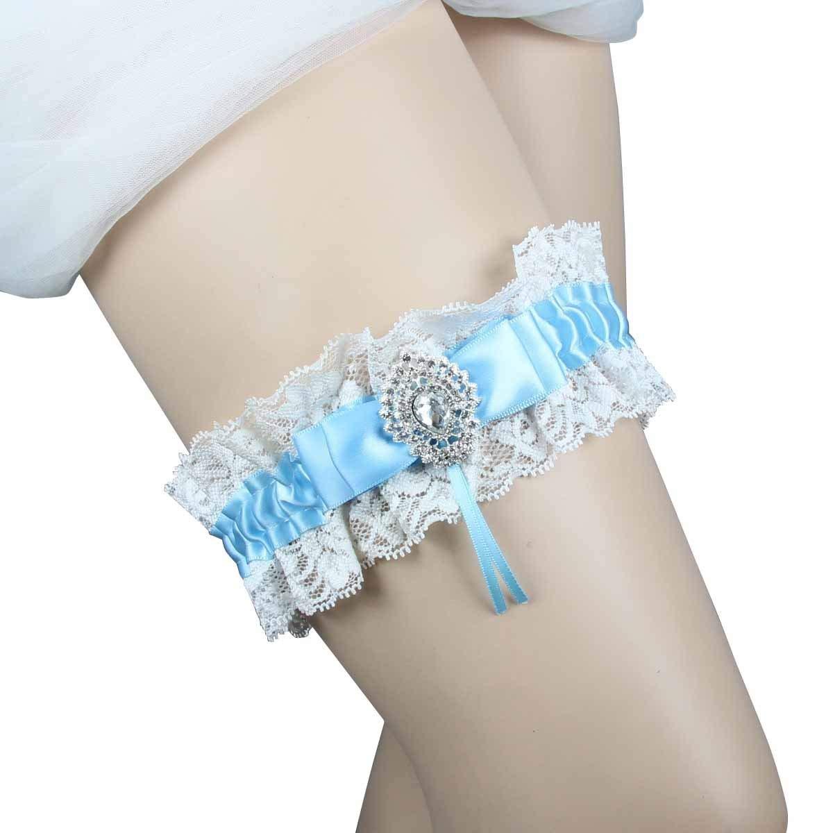 IUMN Wedding Garter Blue Lace With Rhinestone Handmade Bride Garter Belt  (14-24 Inch