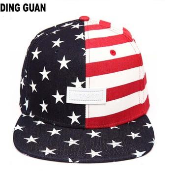 Custom Printed American Flag Flat Bill Leather Patch Snapback Hat ... 6ac31e7b345