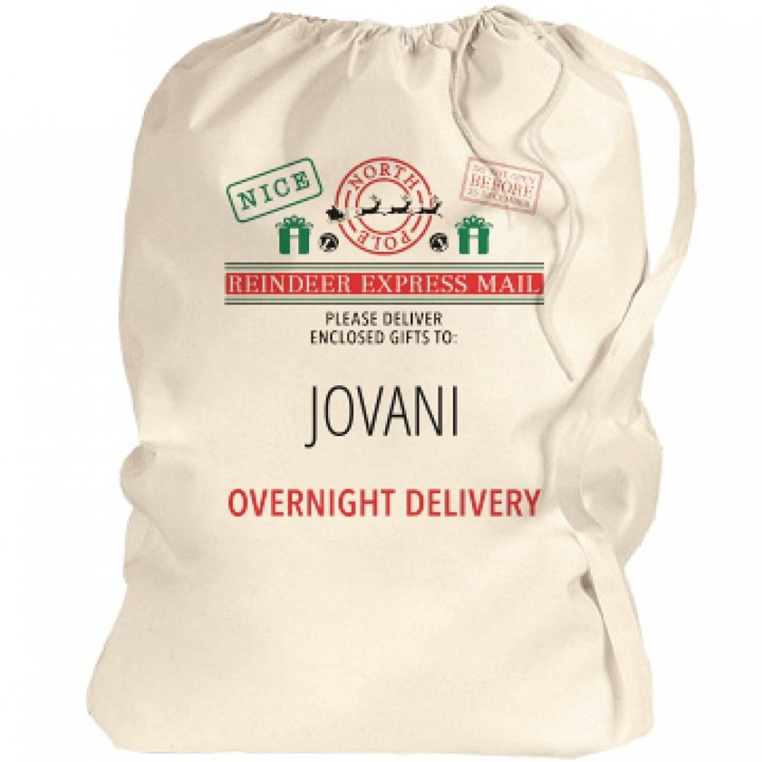 Santa Bag Overnight Xmas Delivery For Jovani: Canvas Laundry Bag