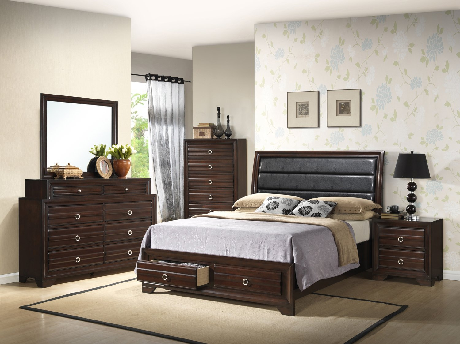 Home Source 50902063 Barcelona Collection Asian Hardwood Night Stand, 24.7 by 16.5 by 23.6-Inch, Espresso