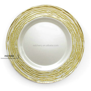 Creative irregular stroke lines glass tray glass beaded charger plate gold charger plates wedding charger plates