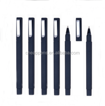 custom logo black square rubber ball point pen