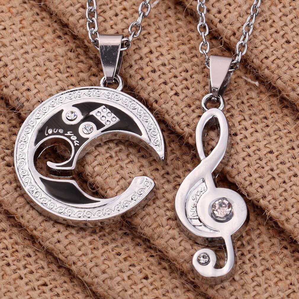 Fashion Stainless Steel Couple Matching Music Note Pendant ...
