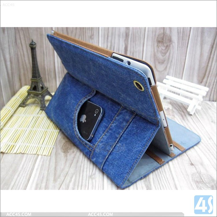 Cowboy Jeans Leather Case Smart Cover Sleep Mode Jeans Case For Ipad Mini 3