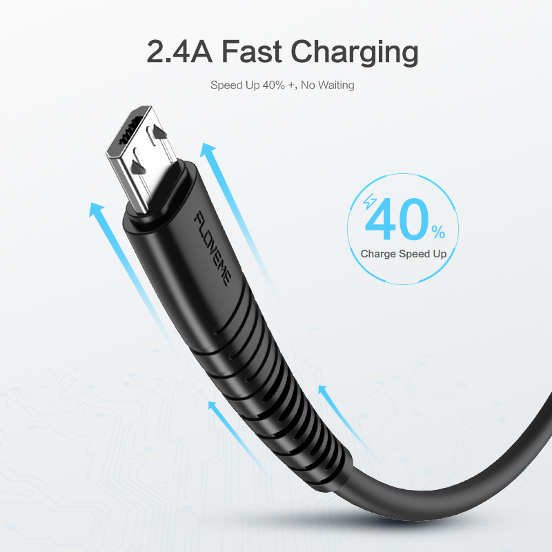 Free Shipping 2.4A Fast Charging Cable FLOVEME Basic Charging Line Micro USB Phone 1M Data Cable