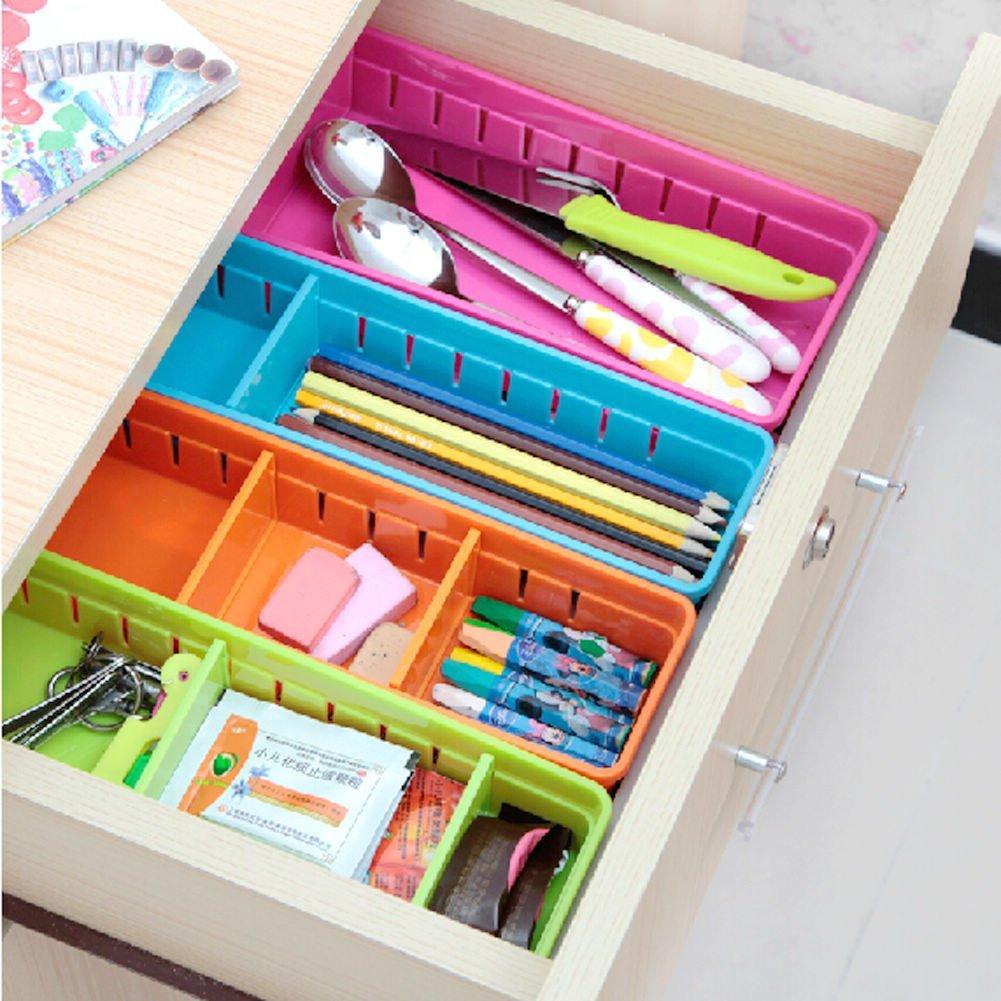 VANORIG Creative Storage Drawers Drawer Organizers Plastic Drawer Dividers Drawer Storage Box Stationery Makeup Organizers,Set of 4 (Assorted Colors)