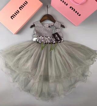 New Children Cotton Net Frocks Designs Pink Flower Girls Party Dress