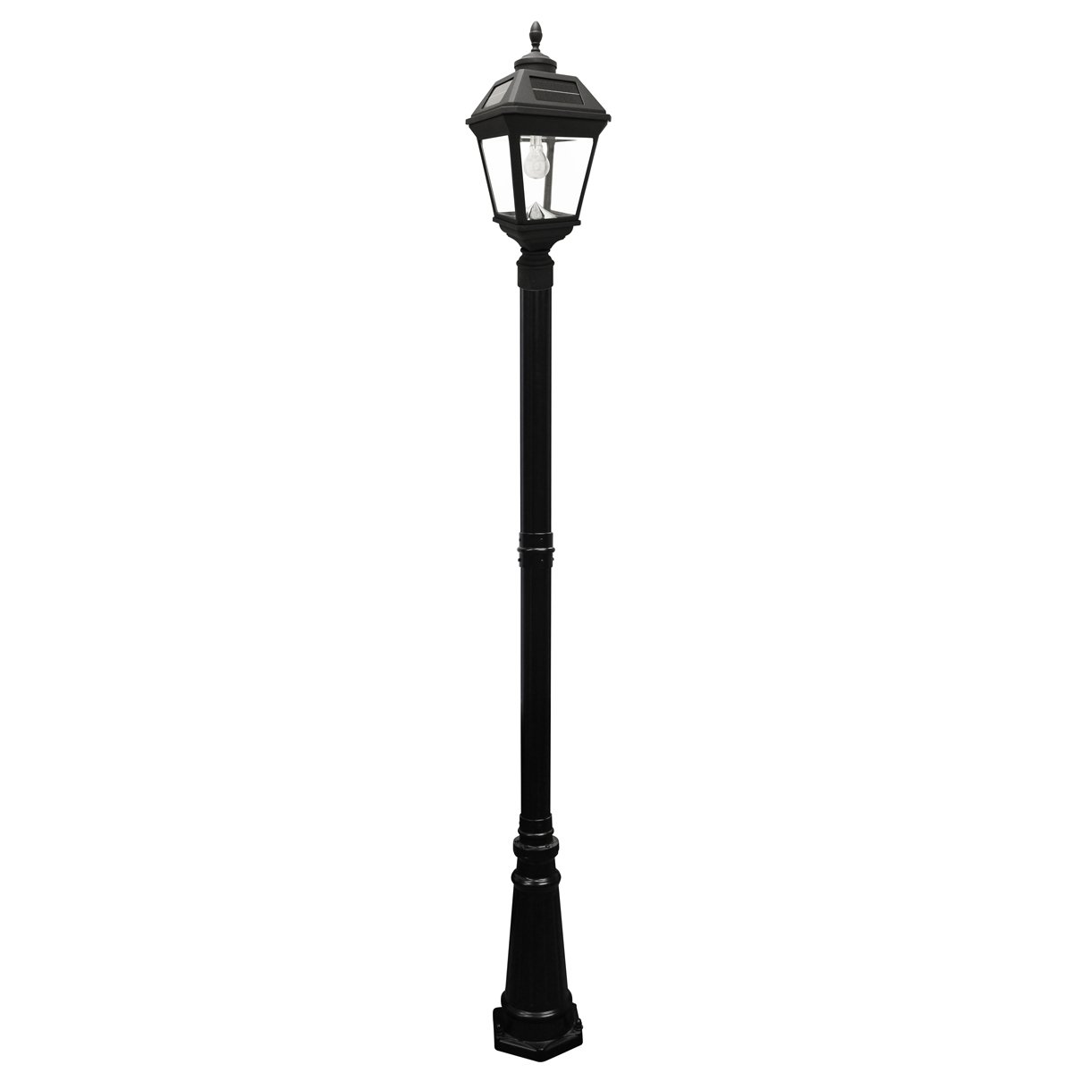 Gama Sonic Imperial Bulb Solar Outdoor Lamp Post GS-97B-S - Black Finish