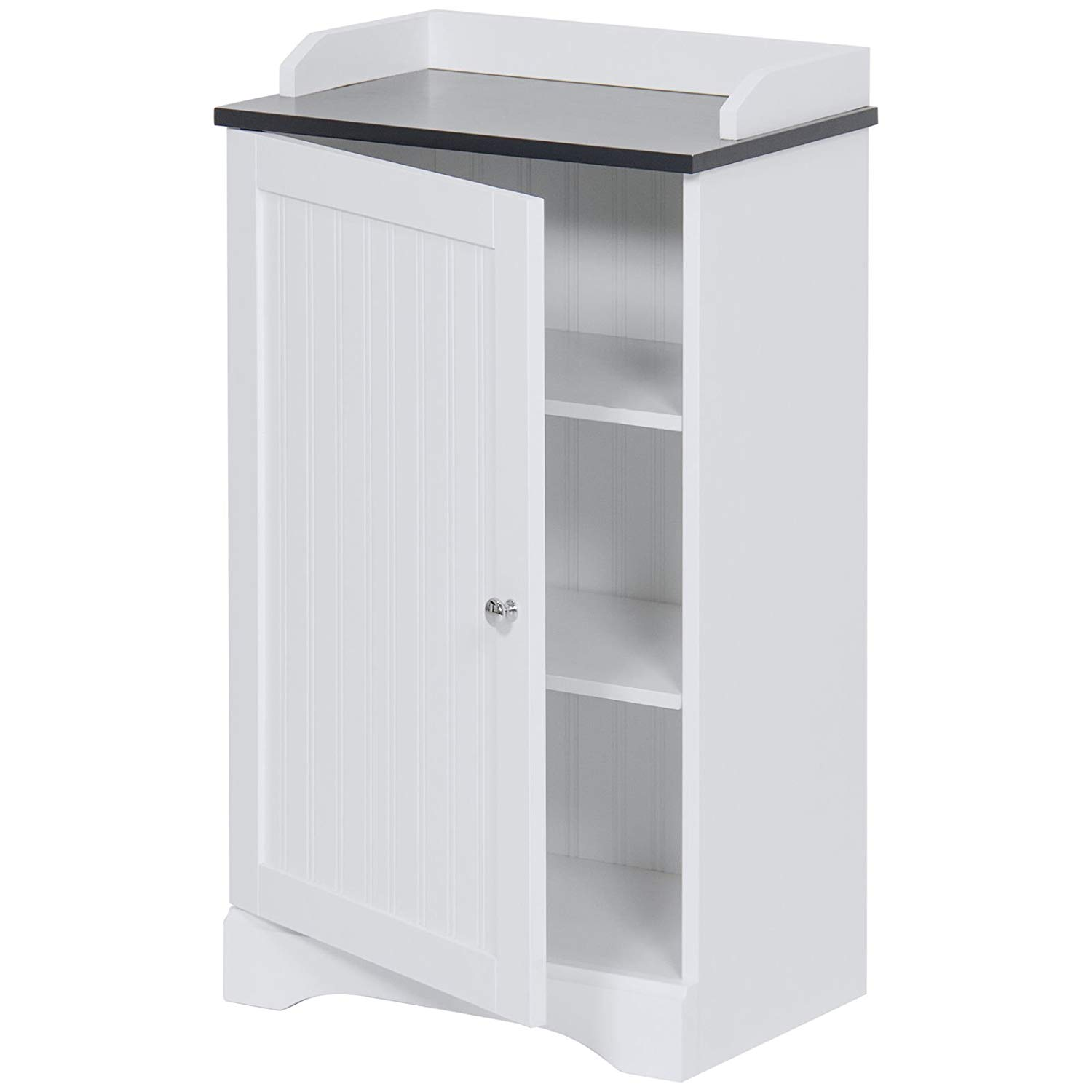 "White 31"" MDF Bathroom Floor Storage Cabinet Versatile Door w/3 Inner Shelves with Ebook"