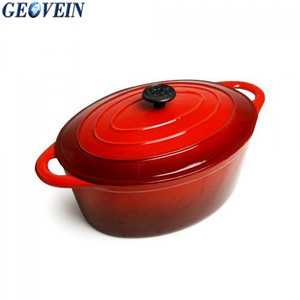 Enamel Cast Iron 8Qt Oval Dutch Oven with Lid