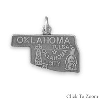 Handmade Antique Silver Plated Oklahoma Us State Charm For USA