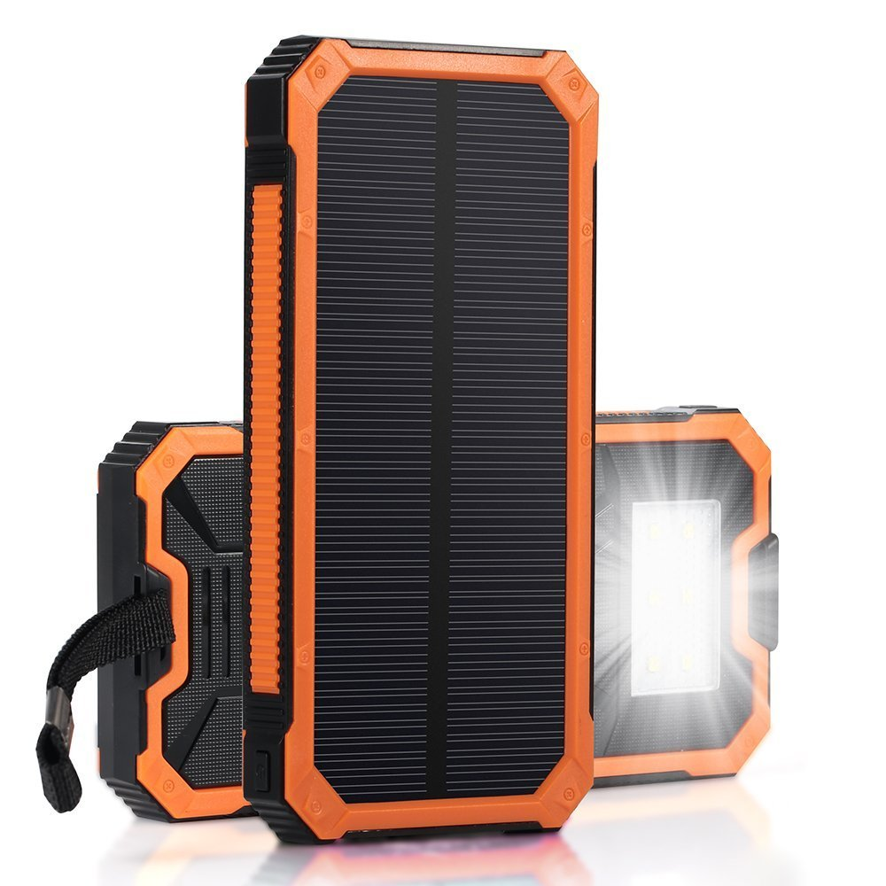 PowerGreen Carabiner Design Sun Light Power Bank 15000mAh Portable Solar Charger for Mobile Phone