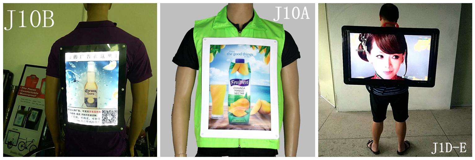 J10-0 advertising display acrylic mobile advertising display tshirt led billboard, led backpack human billboard advertising