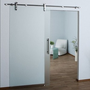 hanging tempered glass tracking door for bathroom