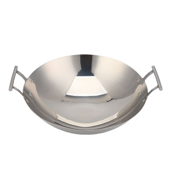 Eco-Friendly Wok Pan Induction Stainless Steel Wok With Handles Cooking Wok Pan Stainless Steel