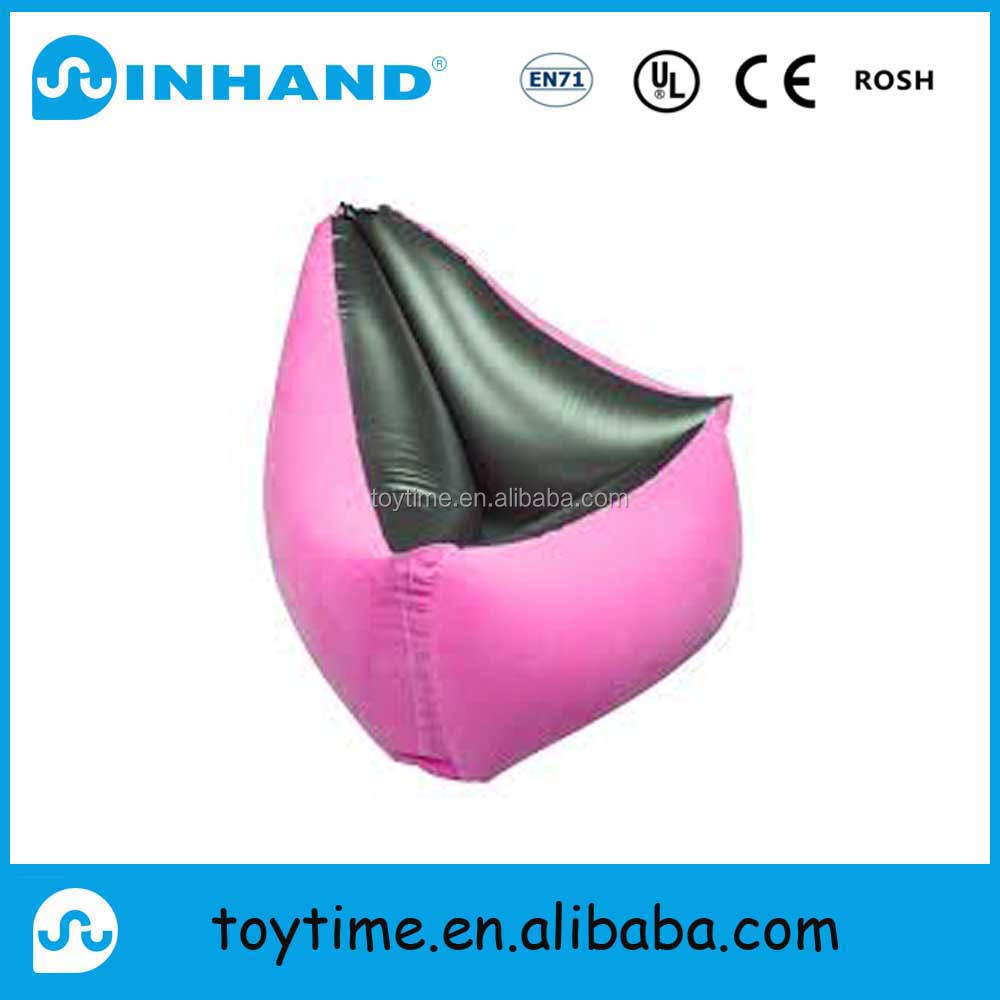 new design pink pvc inflatable mattress, home furniture flock air water sofa bed, float sofa lounger