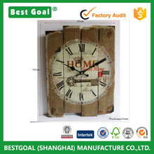 Retro Shabby Chic Square Wood wall Clock Silent No Ticking Wall Clock