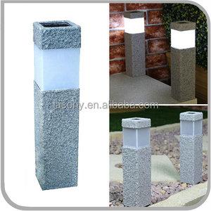 Square Stone Effect Solar Powered LED Garden Post Bollard Lamp for Garden  Decorative (JL-8575)