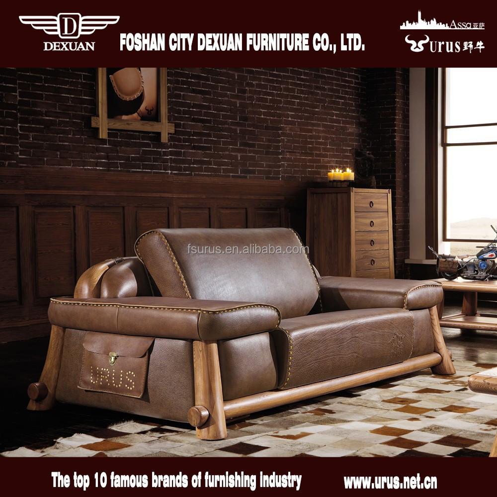Hot verkoop rustieke dikke lederen houten sofa set ontwerpen ...