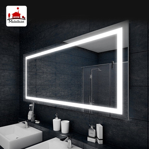 Hotel led wall mirrors frameless bath mirrors bathroom lighted glass mirror with waterproof IP44 rating