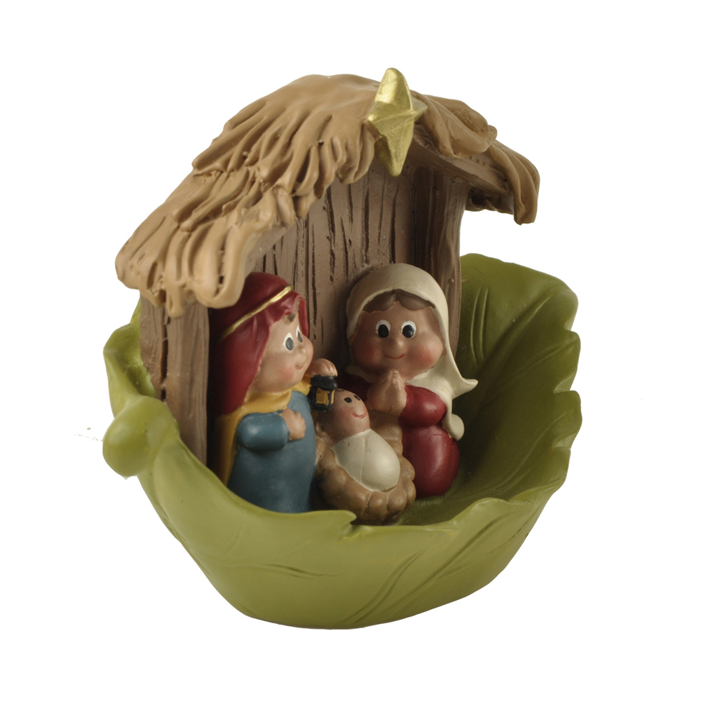 "Polyresin 3.15"" Mini Cute Holy Family Nativity Scene Figurines Religious Figurine Decoration"