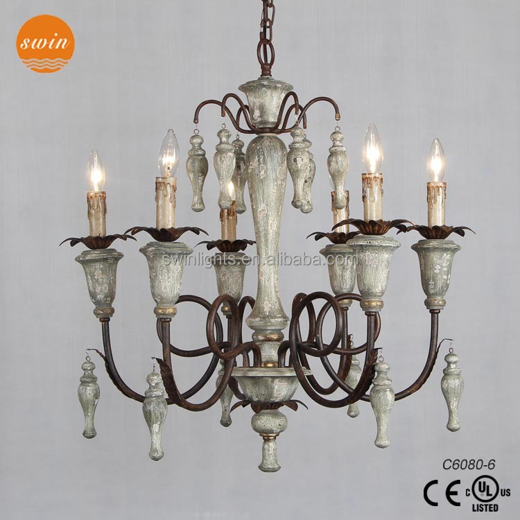 New Design French Country Style Wood Drops Chandelier Decorative 6 Candles Pendant Light In China Lamp Lights