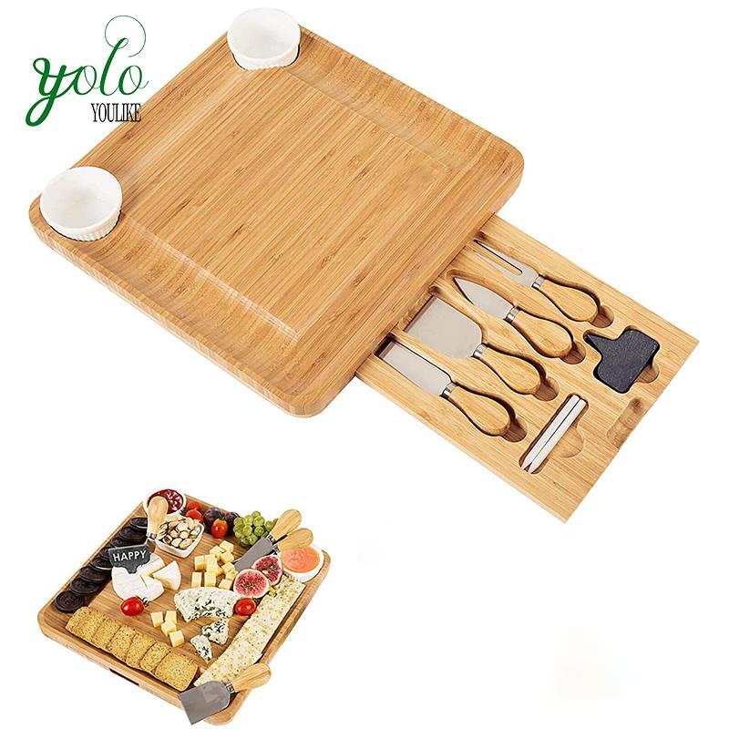 Di alta Qualità di Bambù Bordo di Formaggio Con Set di Coltelli, Piatto di Carne Cibo Servire Vassoio E 2 Ciotole di Ceramica