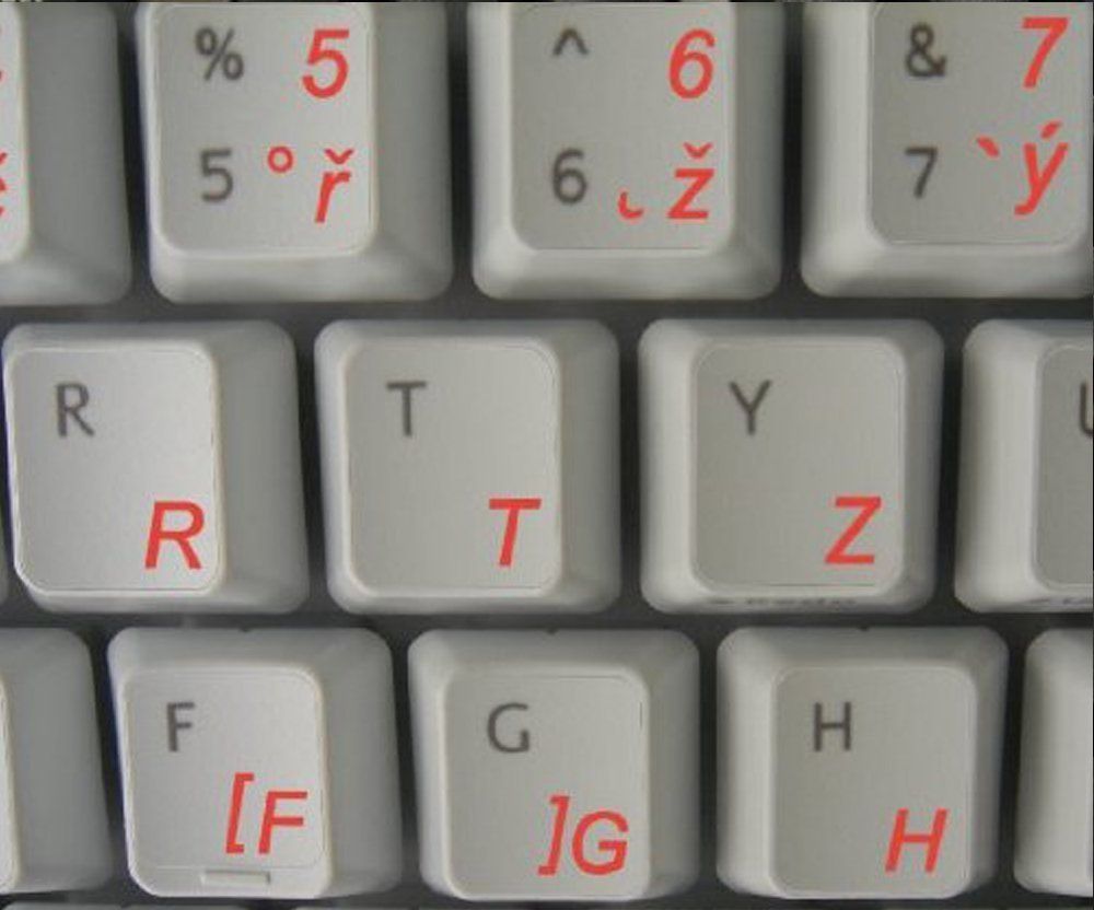 Czech Transparent Keyboard Stickers with Red letters - for any laptop or keyboard