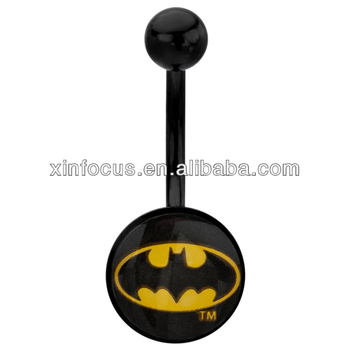 Belly Button Ring Navel 316L Surgical Steel Batman Body Piercing