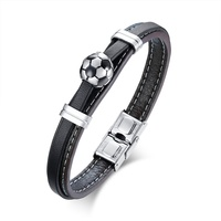 men 10mm genuine leather bracelet with 13mm slide football soccer charm
