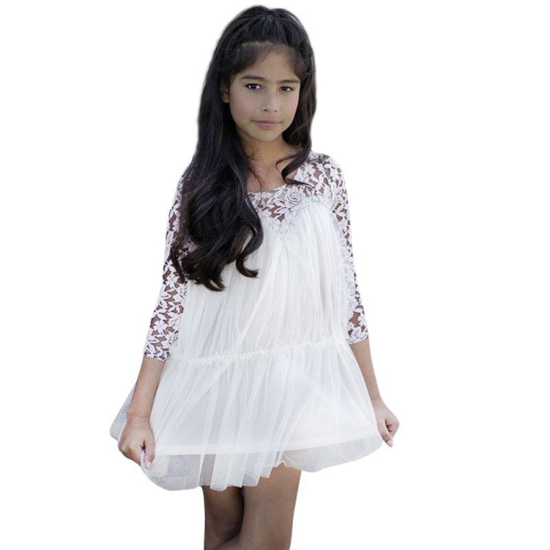 Kids Princess Girl Lace font b Fancy b font font b Dress b font Long Sleeve
