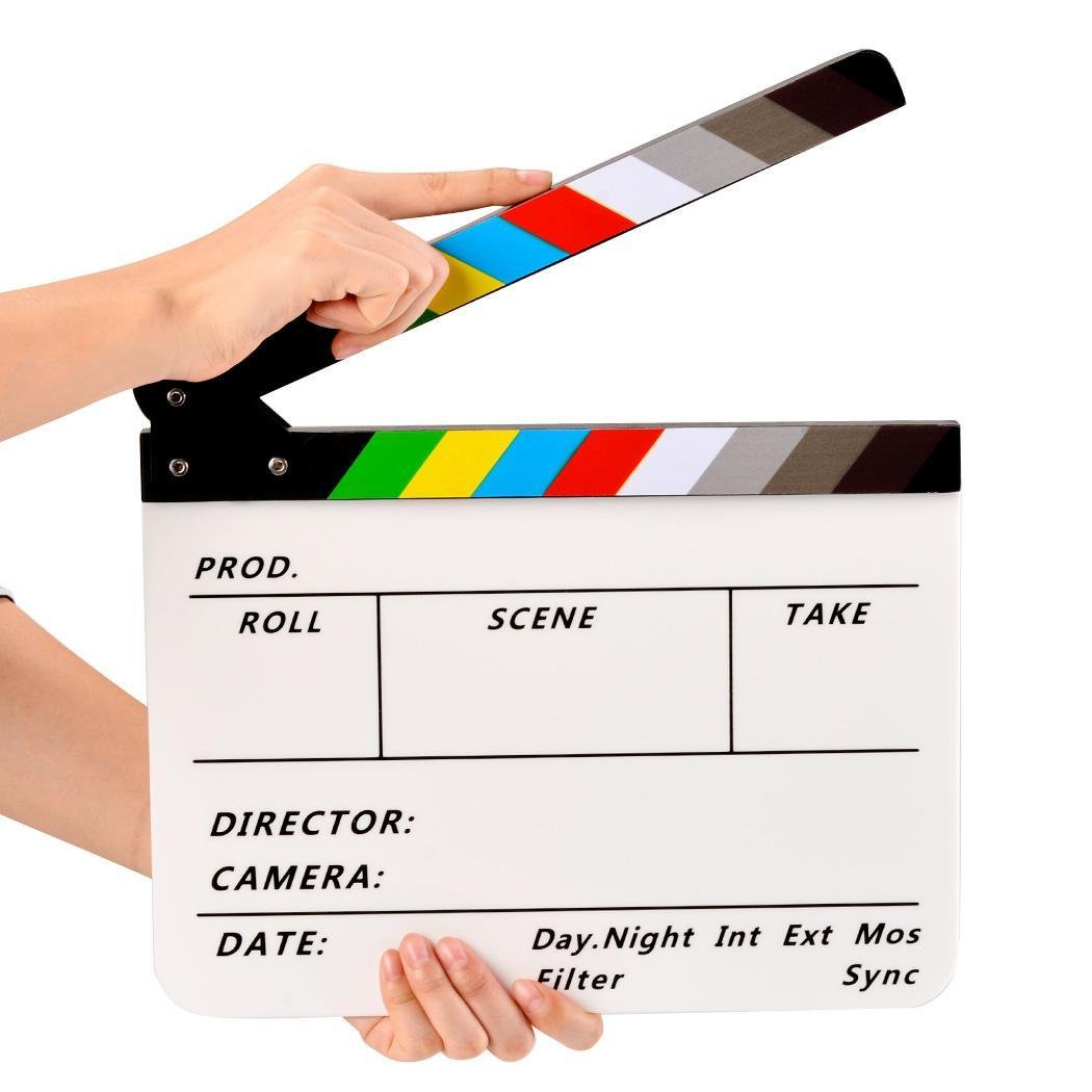 Pesters Acrylic Film Clapboard, Dry Erase Director Film Movie Clapper Board Cut Action Scene Clapper Board Slate with Color Sticks, 11.6 x 9.5 x 0.7'' (US STOCK) (Type_1)