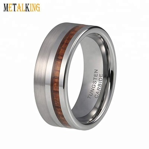 8mm Tungsten Carbide Rings for Men Women Wedding Bands Natural Koa Wood Inlay Matte Polished Finish Comfort Fit