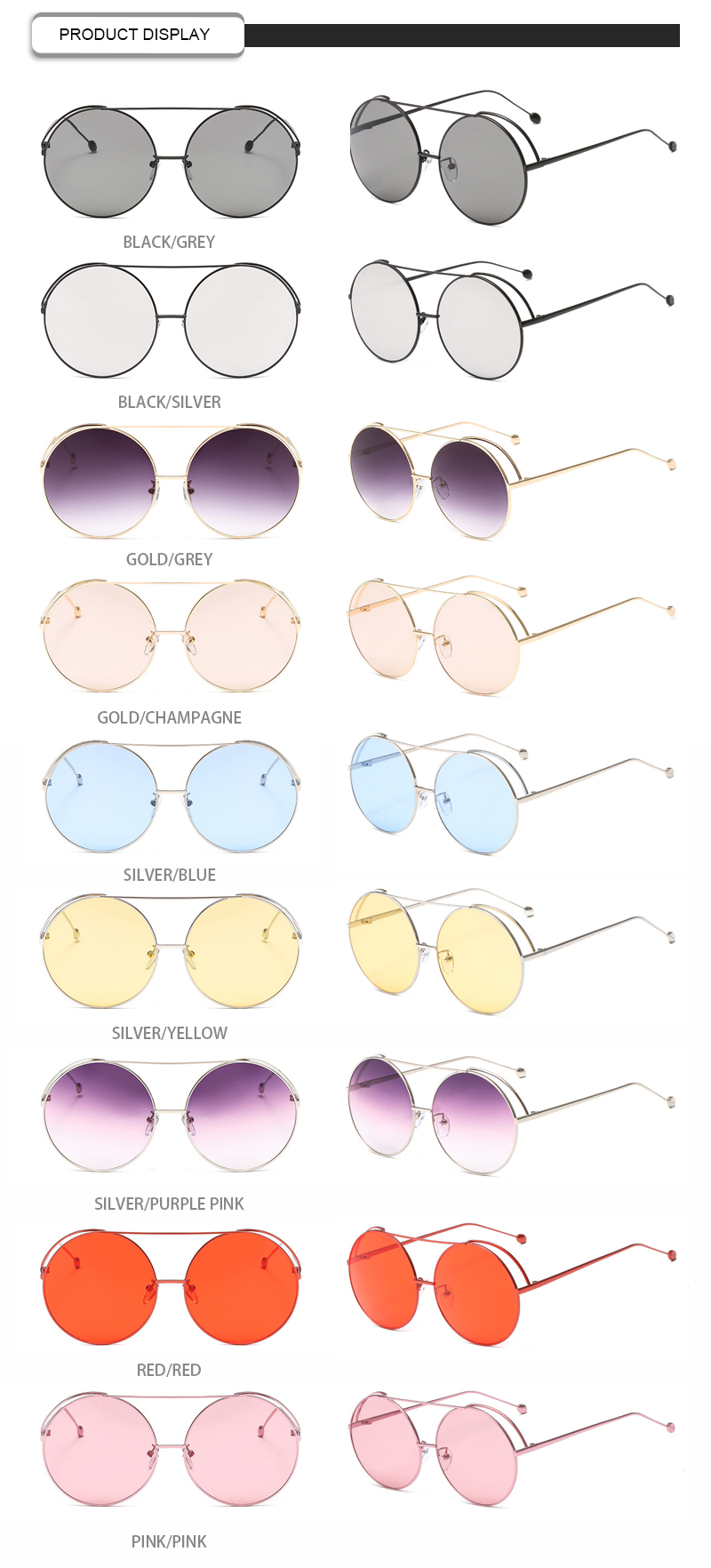 2019 Red Women Brand Designer High Quality Fashionable Metal Shades Round Sunglasses