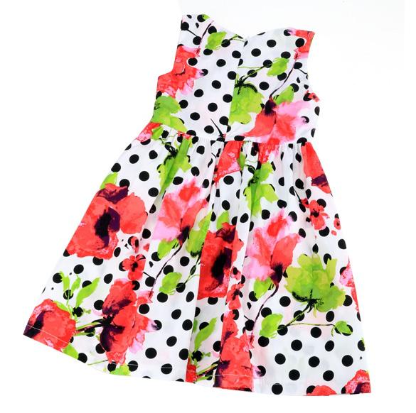 New Fashion Kids Girl s Polka Dot Floral Sleeveless Square Neck font b Fancy b font
