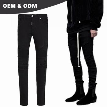 0d59c2ed50714b OEM own brand damaged jeans for men wholesale price new model black biker  jeans motorcycle pants