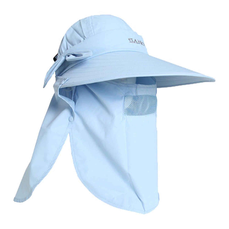 Yimidear Women Girls 360° Comprehensive Protection UV Sun Hat Large Brim Sun Hat Beach Hats Removable Face&Neck Flap Cover Cap Outdoor Visor Cap
