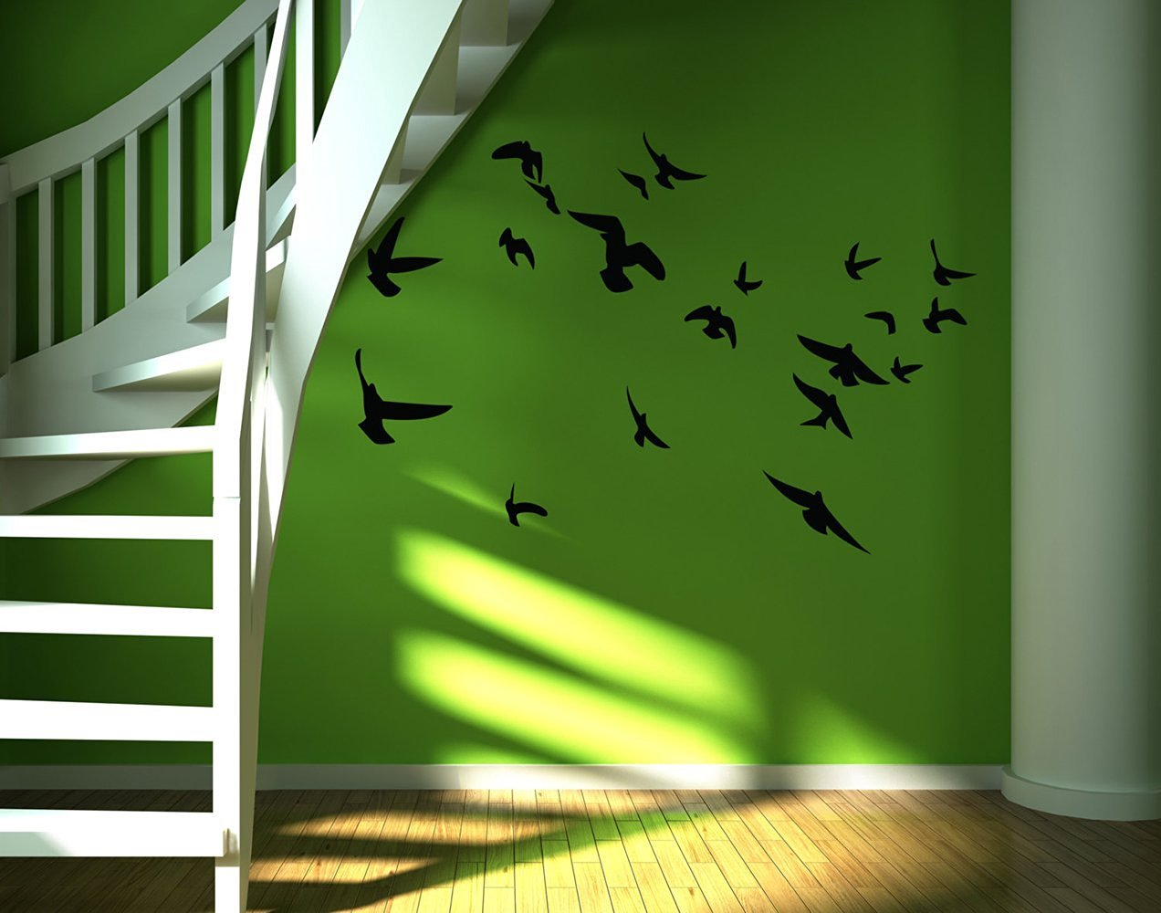 """Dnven Animals (60""""w x 41""""h) Flying Birds Peace Doves Pigeon Silhouette Wall Decals Stickers Removable Vinyl Arts for Bedrooms Family Playroom Classroom Nursery"""
