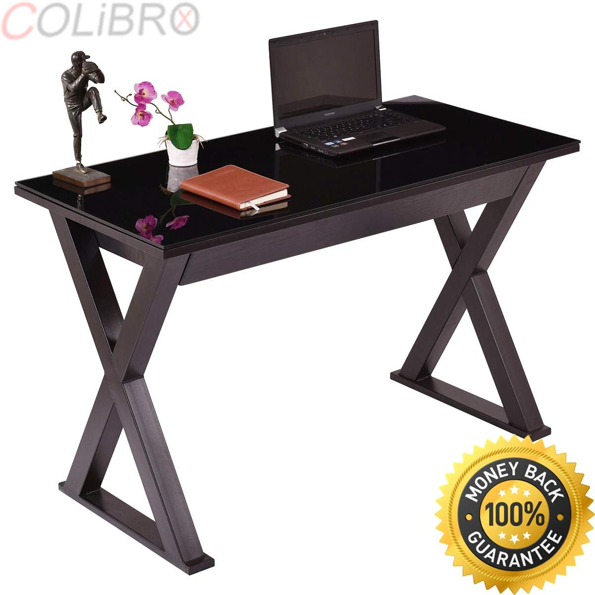 COLIBROX--Tempered Glass Top Computer Desk PC Laptop Table Writing Workstation w/ Drawer.folding wooden computer desk pc laptop table large writing study workstation.mainstays glass top computer desk.