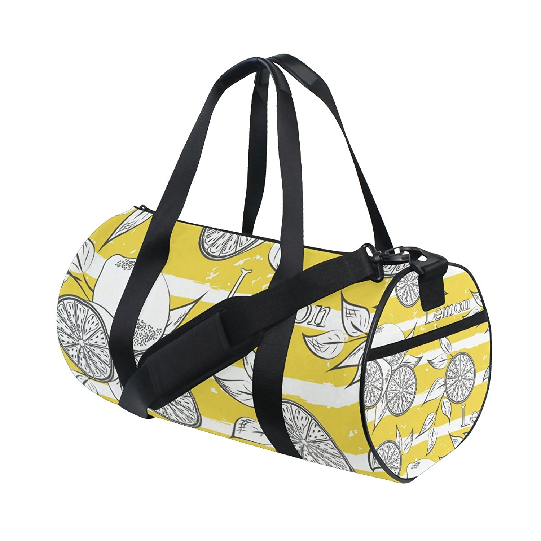 Gym Bag Leaf Lemon Fruit Pattern Sports Travel Duffel Lightweight Canvas Bag